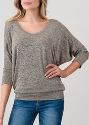 Natural Vibe Knit V Top (Heather Taupe)
