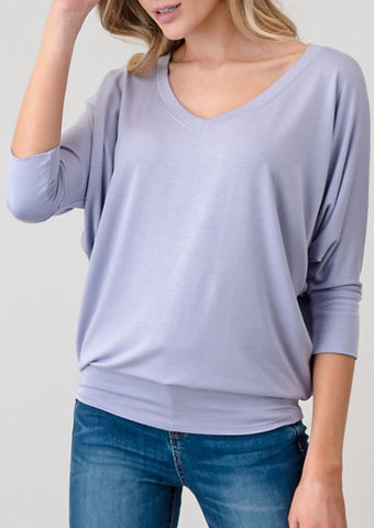 Natural Life: Modal V Neck Long Sleeve Top In Charcoal Grey