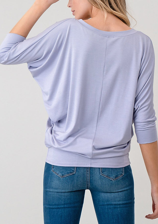 Natural Life Modal V Neck 3/4 Top (Misty Lilac)