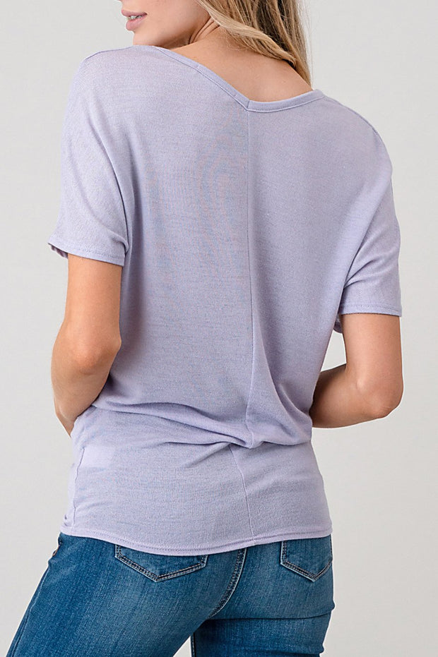 Natural Vibe Soft V Tee (Misty Lilac)