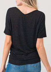 Natural Vibe Soft V Tee (Black)