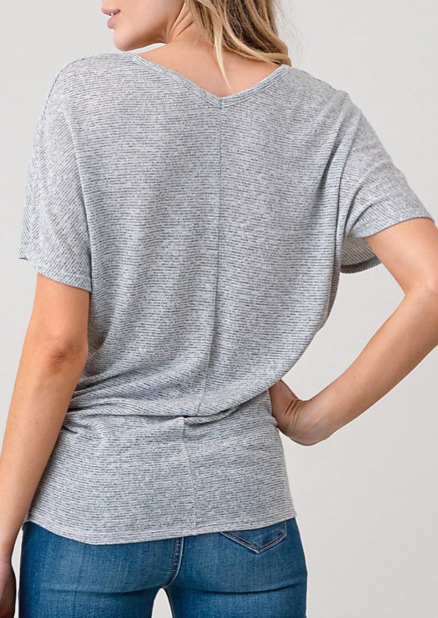 Natural Vibe Soft V Tee (Heather Grey)