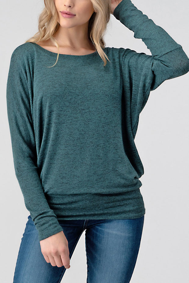 Natural Life Knit Round Neck Long Sleeve Top (Hunter Green)