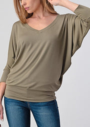 Natural Vibe Modal V Neck Top (Light Olive)