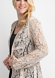 The Vocal Lace Suede Cardigan (Natural)