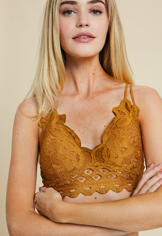 Wishlist Scalloped Lace Bralette (Marigold)