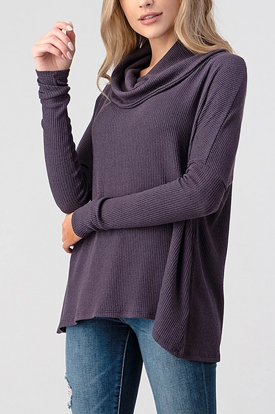 Natural Life Ribbed Cowl Neck Top (Raisin)