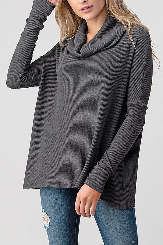 Natural Life Ribbed Cowl Neck Top (Dark Charcoal)