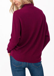 Natural Vibe Rib Mock Neck Sweater (Port)