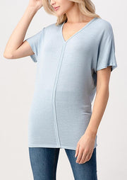Natural Vibe Soft V Tee (Blue Fog)