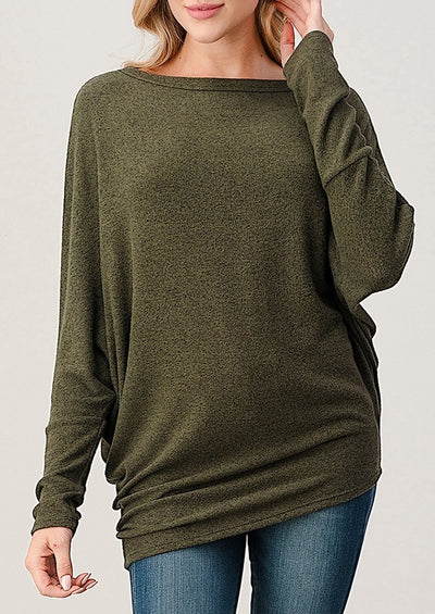 Natural Vibe Asymmetrical Brushed Top (Olive)