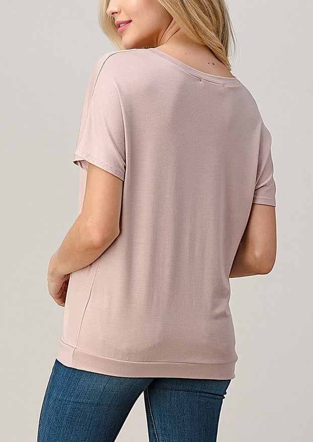 Natural Vibe Twisty Tee (Mineral Pink)