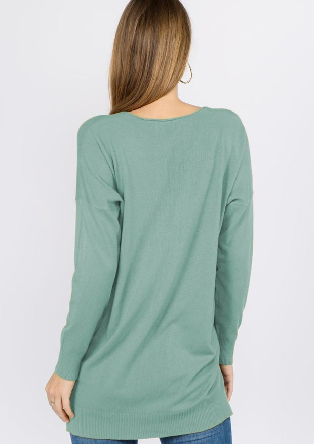 Comfy As Can Be Sweater (Heather Mint)