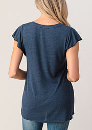 Natural Vibe Flutter Tee (Navy)