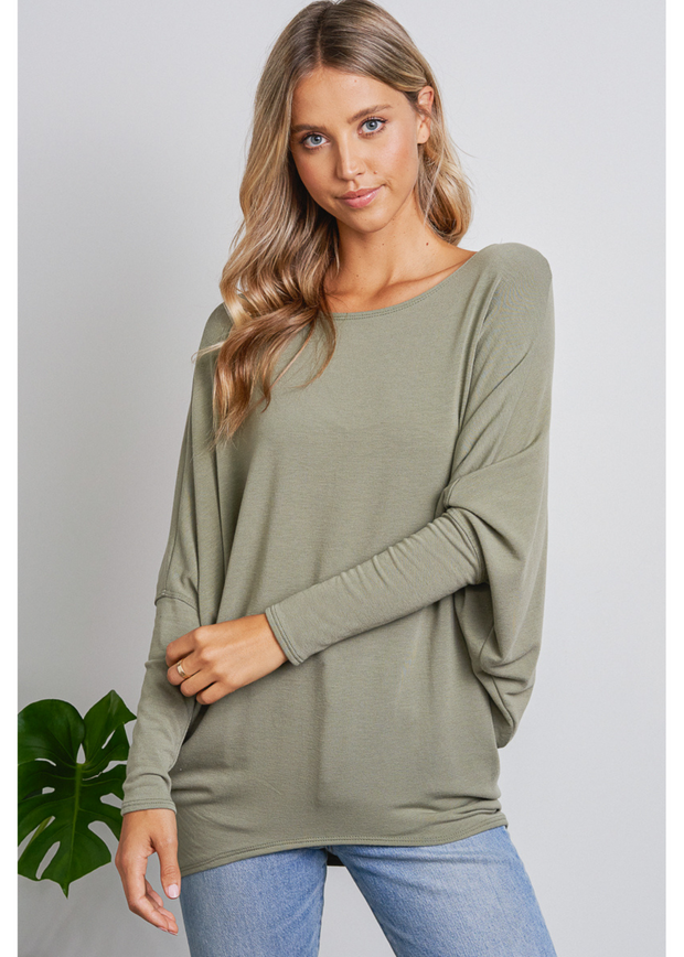 Jolie French Terry All Day Slouch Top (Olive)