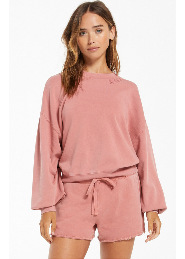 Z Supply Be Kind Cotton Pullover (Dusty Rose)