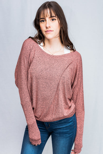 Natural Life Knit Round Neck Long Sleeve Top (Salmon)