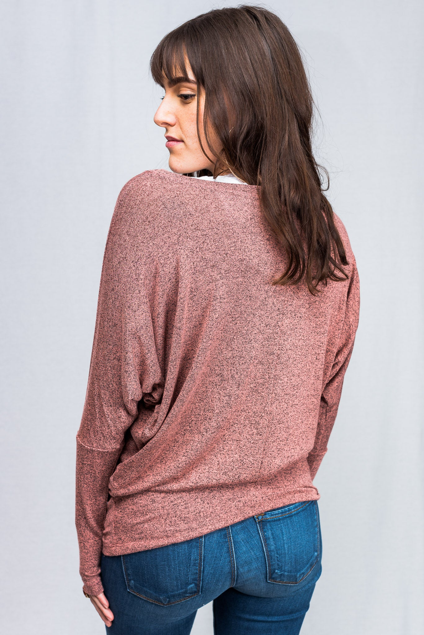 Natural Life: Knit Round Neck Long Sleeve Top (Salmon)