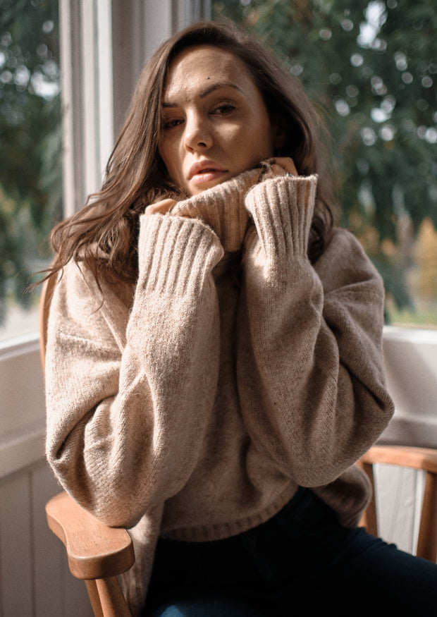 C'est Moi Cowl Neck Sweater (Tan)