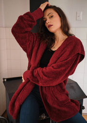 Hem & Thread Soft Plush Jacket (Burgundy)