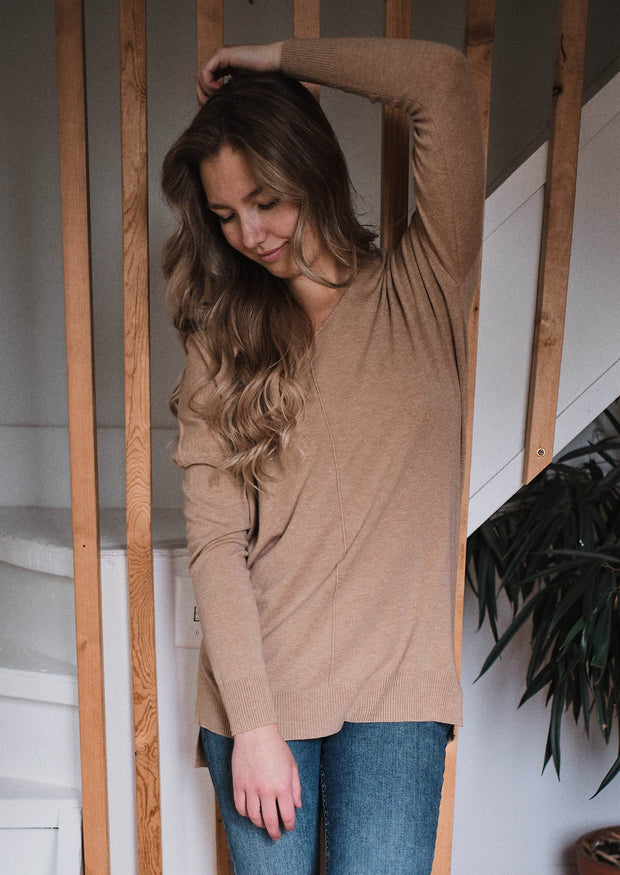Dreamers Comfy As Can Be Sweater (Heather Camel)