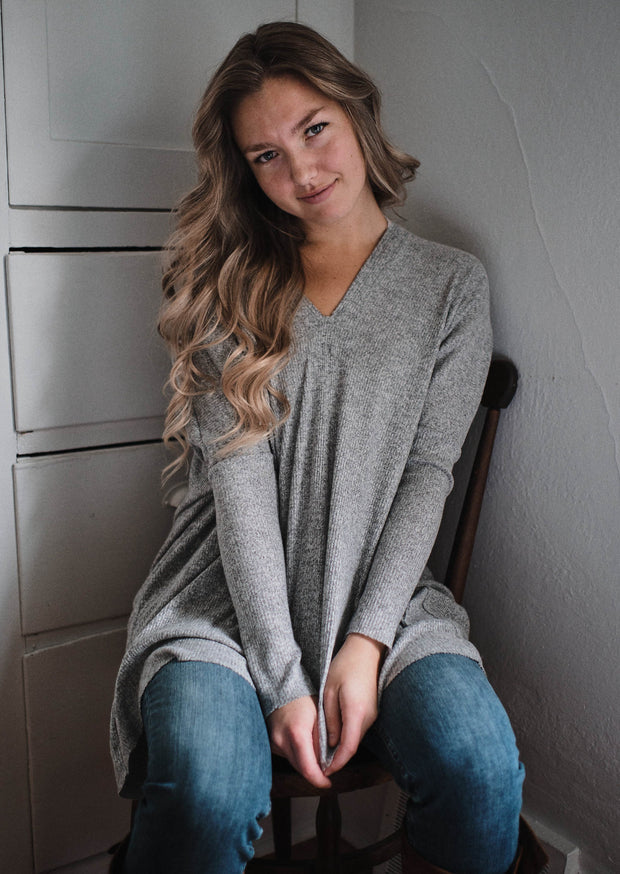Freeloader Brush Knit Top (Heather Grey)