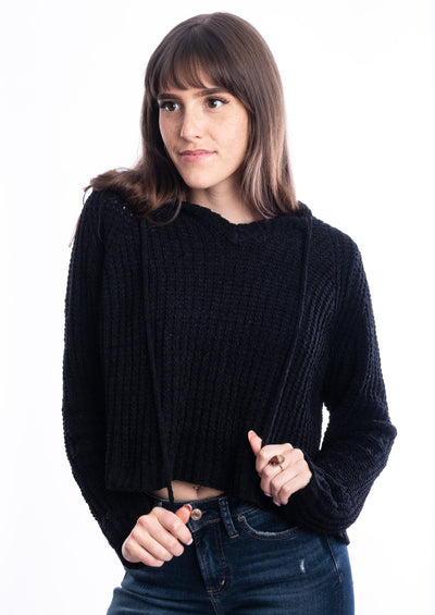 Miracle Cropped Loose Knit Sweater (Black)