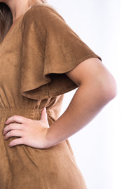 She + Sky Button Down Suede Dress (Camel)