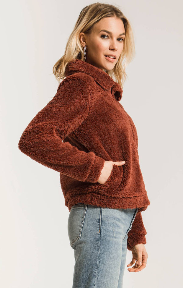 Z Supply Sherpa Crop Jacket (Mesa Red)