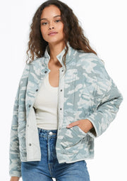 Z Supply Camo Quilted Jacket (Cool Sage)