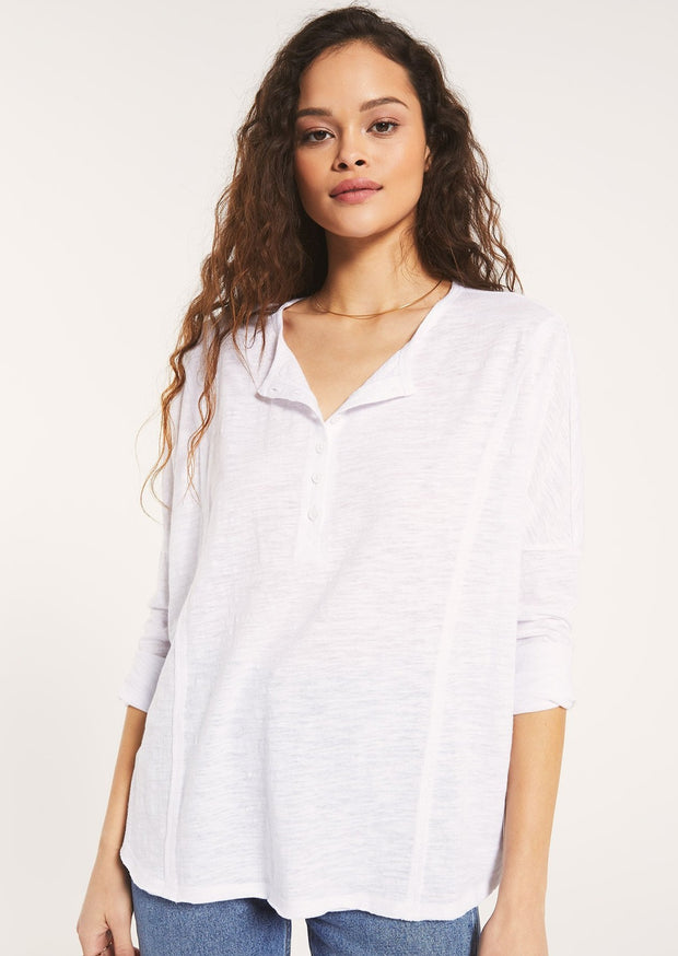 Z Supply Henley Long Sleeve (White)