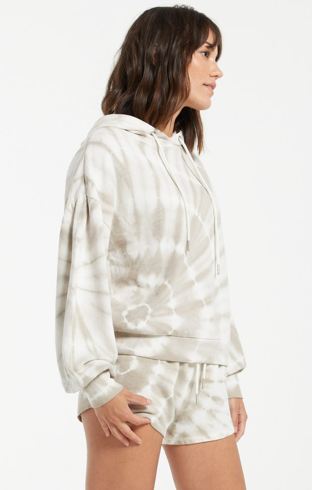 Z Supply Tie Dye Spiral Hoodie (Taupe)