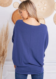 Jolie French Terry All Day Slouch Top (Navy)