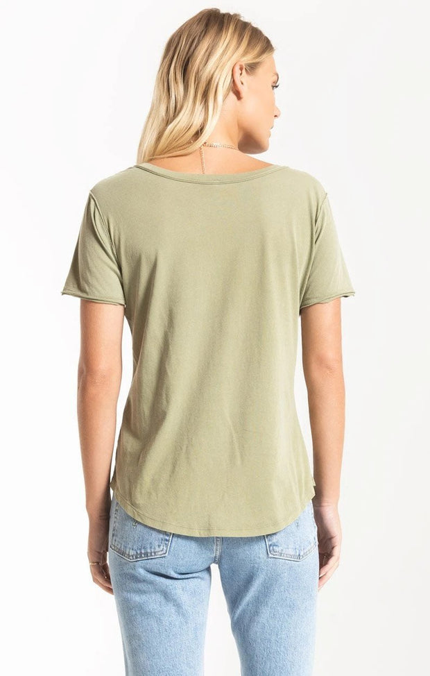 Z Supply Organic Cotton V Neck Tee (Light Sage)