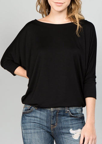 Natural Life: Knit Round Neck Long Sleeve Top (Dark Charcoal)
