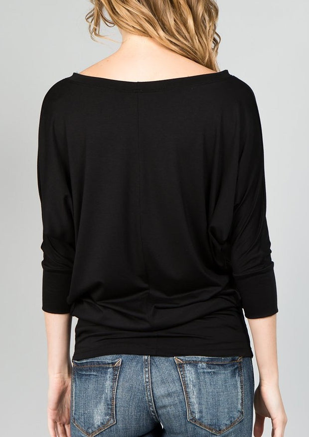 Natural Vibe Modal Round Neck Top (Black)