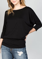 Natural Life Modal Round Neck Top (Black)