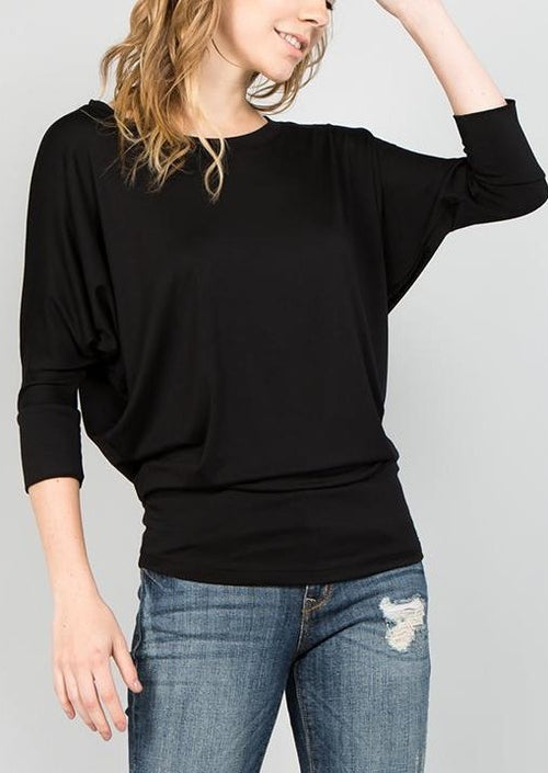 Natural Life: Modal Round Neck 3/4 Sleeve Top (Black)