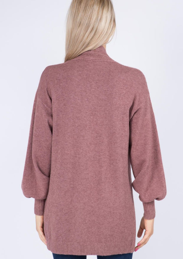 Dreamy Balloon Sleeve Cardigan (Berry)