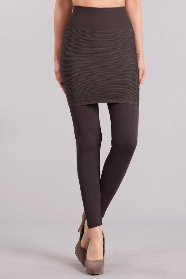 M Rena 2-in-1 Ribbed Skirt Legging (Grey)