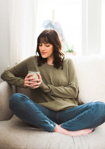 Dreamers Comfy As Can Be Sweater (Heather Olive)