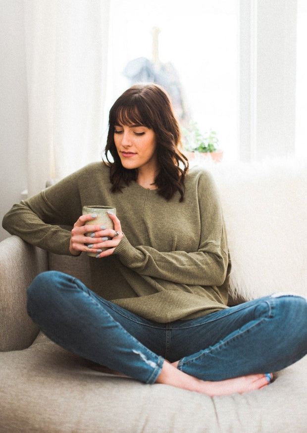 Comfy As Can Be Sweater (Heather Olive)