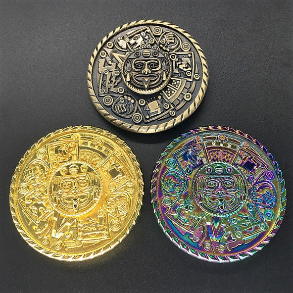 Fidget Round Aztec Shield Spinner (Brass, Gold, Rainbow)