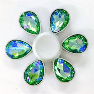 Fidget Zinc Alloy Flower Jewel Six-Pointed Spinner (Color Crystal Diamonds)