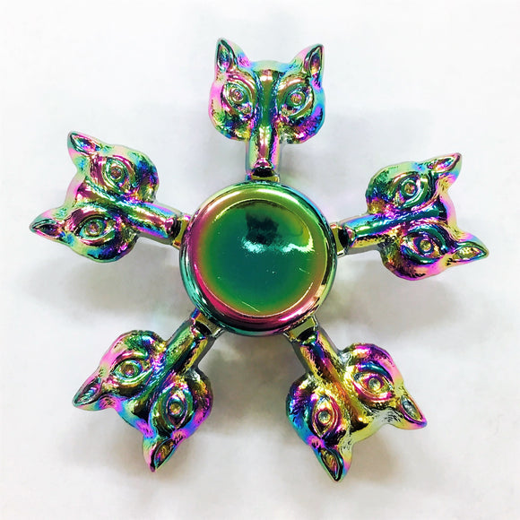 Fidget Zinc Alloy Metal Fox Five-Pointed Spinner (Colorful/Rainbow)