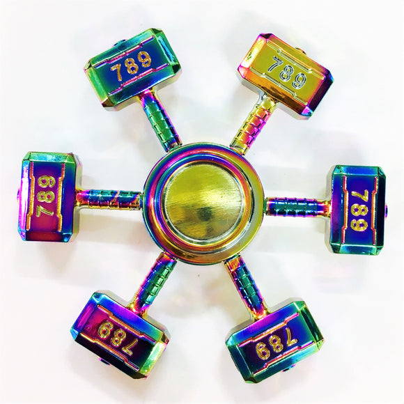 Fidget Zinc Alloy Six Handle Hammer Spinner (Colorful, Rainbow)