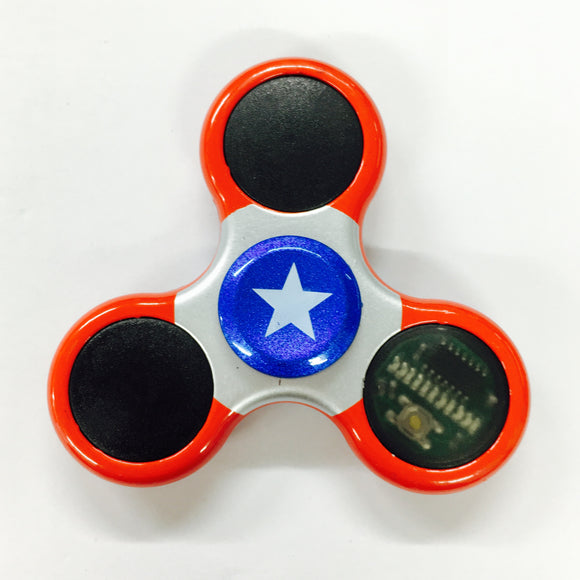 Fidget Alloy Metal Tri-Spinner w/ LED Line Light (Star on Blue Cap, Red Spider)