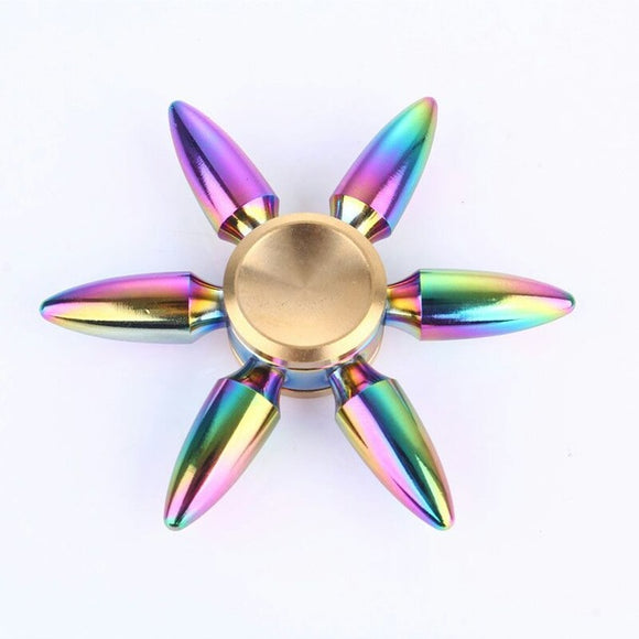 Fidget Six-Pointed Metal Spinner (Bullet Pointy Edge - Colorful Rainbow)