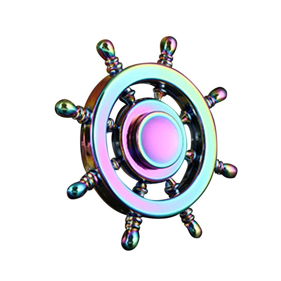 Fidget 8-Spoke Shipwheel Metal Spinner (Modern Style Thin Handle - Colorful Rainbow)