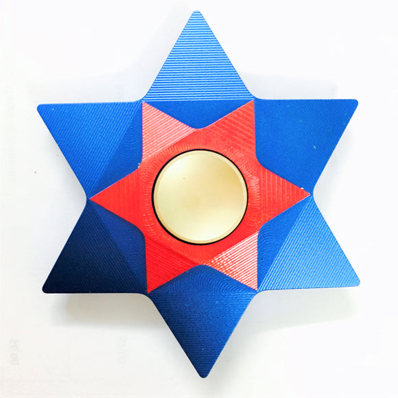 Fidget Multi-Color Six-Pointed Star Metal Spinner (Blue, Red)